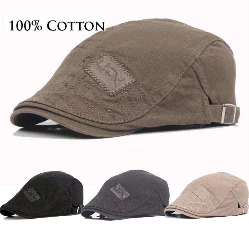 Thefound New Cotton Men Beret Cap  Adjustable Hats  Men Ivy Cowboy Hat Golf Driving Summer Flat Cabbie  Newsboy Caps