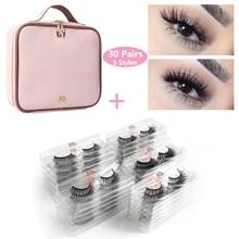 Wholesale 30/50 Pairs/lot Eyelashes 3d Mink Lashes Extension Natural long False 1pcs Women Waterproof Make Up Bag Kit