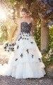 Black and White Lace Princess Wedding Bride Dress Empire Backless vestidos de novia tallas grandes P6361