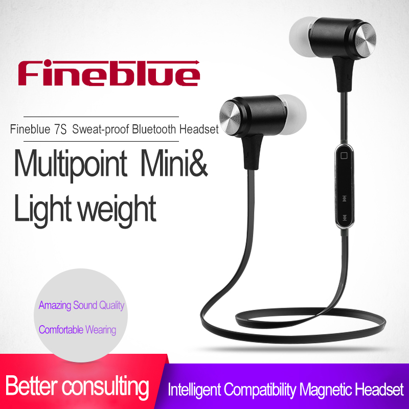 FineBlue 7S Magnet Sport In-Ear Bluetooth Earphone Earpiece Handsfree Stereo Headset Wireless Earphones with Mic for Iphone 7 portable stereo in ear wireless bluetooth game black headset headphones earphone handsfree with mic for ps3 smartphone tablet