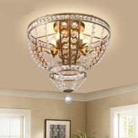 American style crystal ceiling lamp bedroom living room dining room lamp wrought iron circular European corridor lights ZA71012