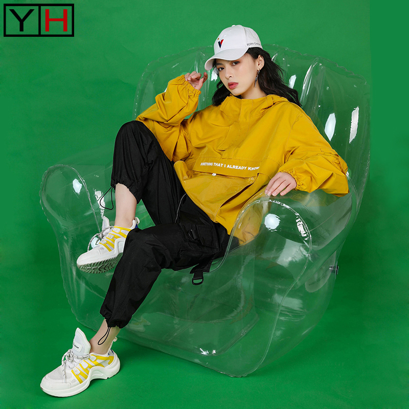 Hot sale Hip hop female fashion loose 2pieces sets yellow coat black pants hooded playful brand street tracksuits