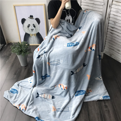 LYN&GY Thickening Flannel Fleece Throw Soft Warm Blanket Cobertor Quilt Bedspread Cartoon Fish Blanket for Sofa/Bed/Car/Couch