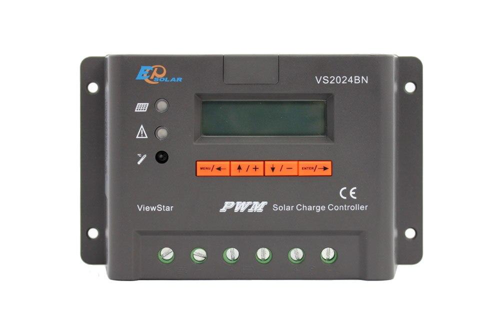 20A contrôleur EPEVER EPSolar PWM série VS2024BN 12 V 24 V chargeur de batterie lcd affichage petite batterie externe de charge