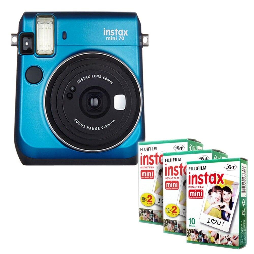 Fujifilm Instax Mini 70 Instant Film Camera Blue with stylish shoulder strap + Fuji 50 Instant film Picture Photo