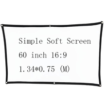 Thinyou 60 inch 16:9 Simple Soft Projector Screen Matt White for Home theater Travel Support LED