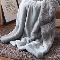 Urijk 1PC Flannel Lambs Wool Blanket Double Layer Throw Bedding Sofa Home Fleece Blanket Autumn Winter
