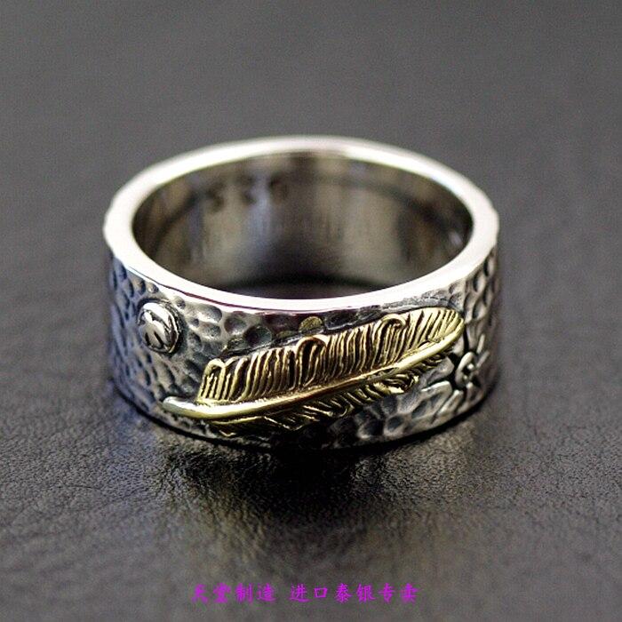 Thaïlande importation bijoux hommes anneaux plume d'or rétro 925 bague en argent