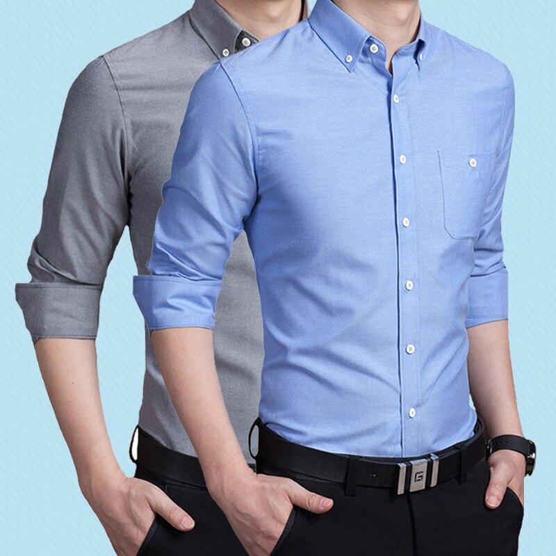 2019 Men Shirt Without Pocket Long Sleeved Male  Men Spring Autum Social Business Shirt Brand Men Clothing Soft Comfortable