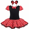 2016 Regalo de Los Cabritos Minnie Mouse Fiesta de Disfraces de Fantasía Cosplay Girls Ballet Tutu Dress + Ear Diadema Niñas Polka Dot Dress Ropa de Arco