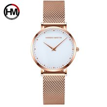 Women's watch 2019 new HM brand Japanese movement waterproof furnace gold-plated steel mesh belt Fashion personality watches(China)