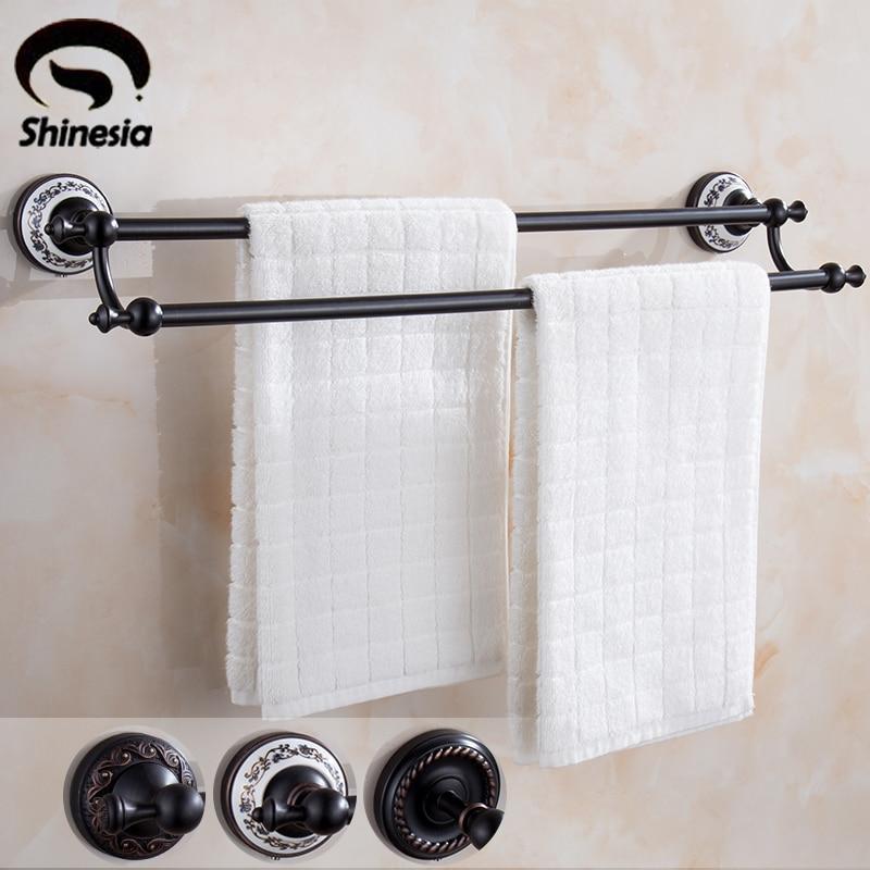 Luxury Bathroom Solid Brass Towel Rack Double Towel Bar Bathroom Accessory Oil Rubbed Bronze auswind black double towel bar oil rubbed solid brass square base towel rack bathroom accessories wr54