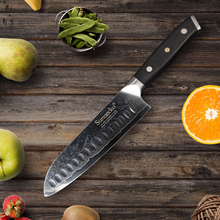 SUNNECKO 7″ Santoku Kitchen Knife Damascus Cut Japanese VG10 Steel Sharp Blade G10 Handle Cleaver Slicing Chef Cooking Knives
