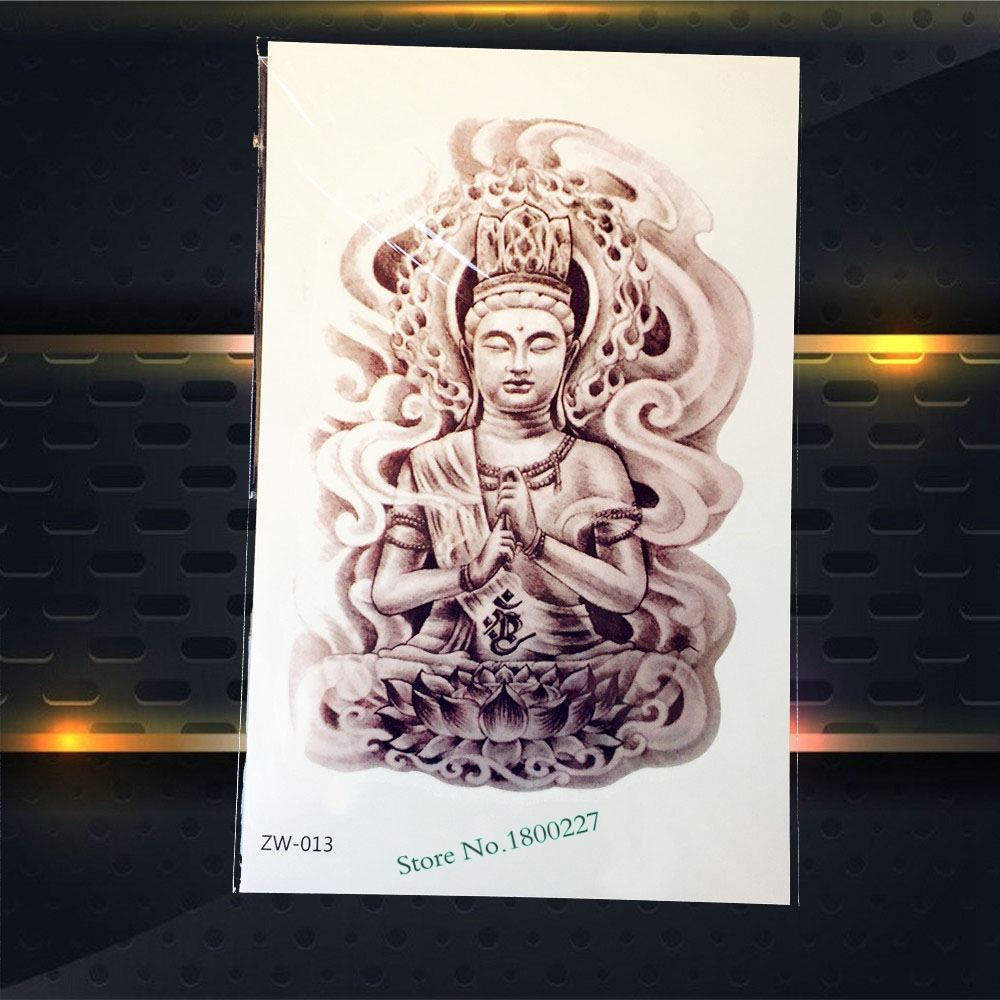 1PC Hot Waterproof Buddha Tattoo For Men Women Body Art Temporary Tattoo Stickers Healthy Shoulder Tattoo Sleeve Buddha PZW-013