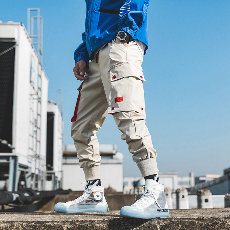 Casual Men Cargo Pants Cotton Polyester Drawstring Pockets Hip Hop Creamy-White Black Men Full Length Fashion Joggers Trouser