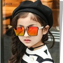 JAXIN 2019okulary Retro Square Sunglasses Kids Big Frame Cute Plated Sun Glasses Girl Cool UV Boy Protect baby eye UV400