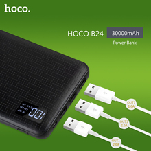 HOCO Power Bank 30000mAh 3USB Portable External Mobile Battery Charger Li-Polymer Support LCD Display poverbank for all phones