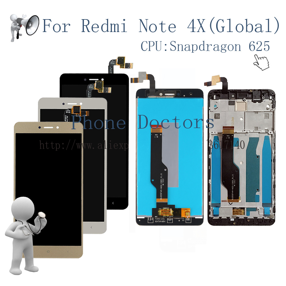 5.5'' Full Touch Screen Digitizer Glass + LCD Display Assembly + Frame Cover For Xiaomi Hongmi Note 4X / Redmi Note 4x MBT6A5