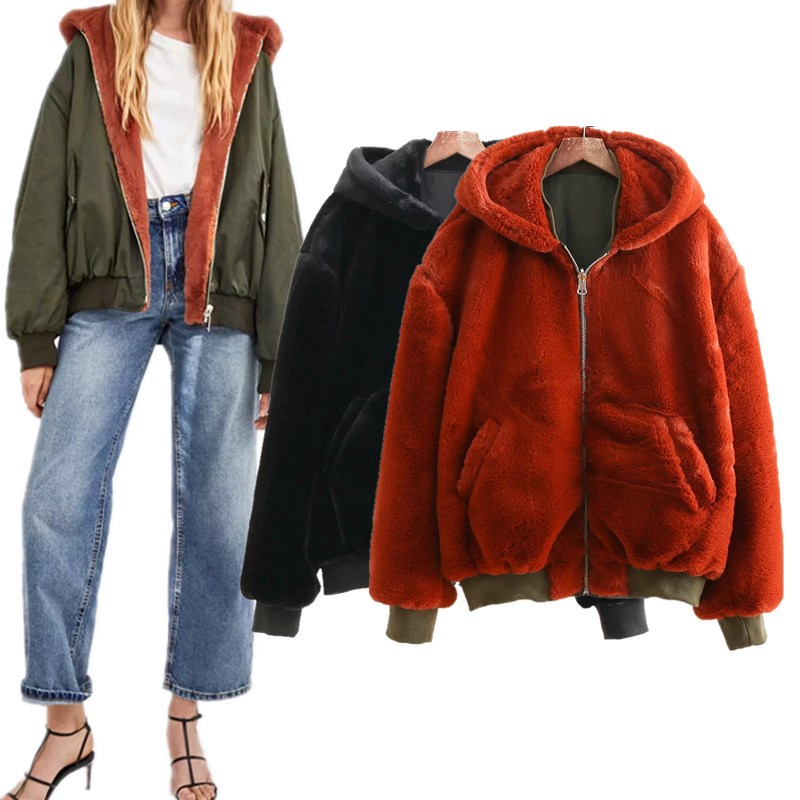 Winter Women's Fluffy Jacket Jacket Baseball Uniform Can Be Double-sided Wearing Large Size Loose Long-sleeved Hood