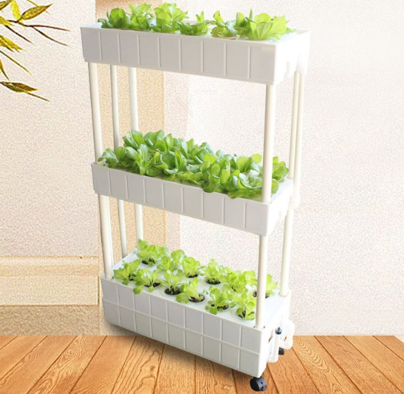 Movable Smart Planter For Home Use Vertical Horticultural Hydroponics System With Grow Lights