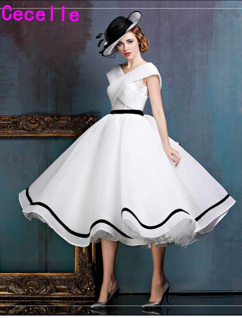 2019 New Black And White Vintage Tea Length Short Wedding Dress