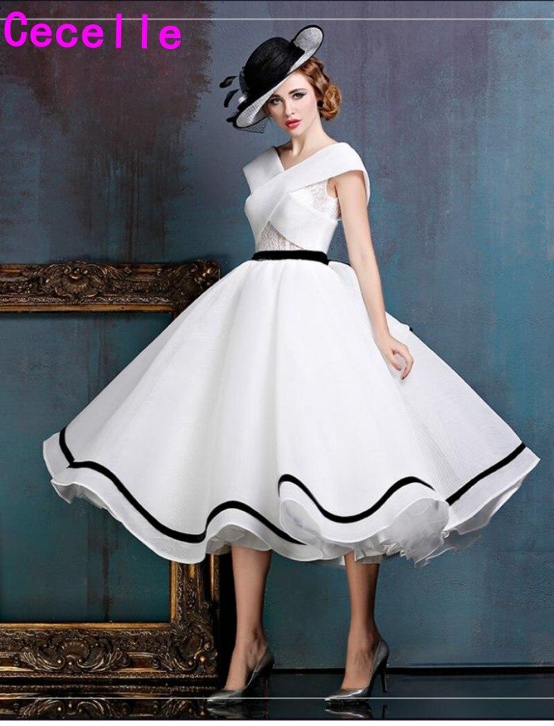 us $113.73 30% off|2019 new black and white vintage tea length short  wedding dress sleeveless informal 1950s 60s bridal gown custom made-in  wedding