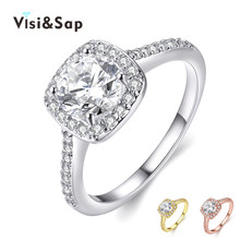 white gold plated ring Engagement bague rings For Women Wedding anillos de compromiso cz diamond fashion jewelry VSR035
