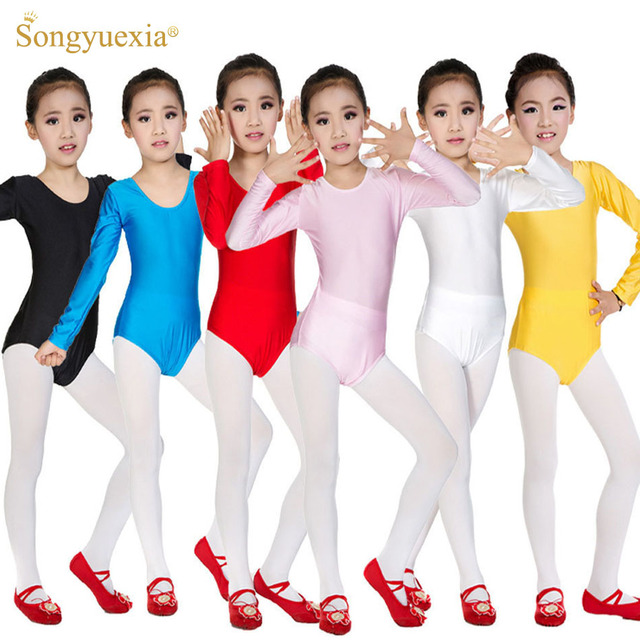 fec8ca6d1 Meninas Spandex Ginástica Collant Roupas de Dança Ballet Infantil  Longo-Vestido de Ballet manga Desgaste