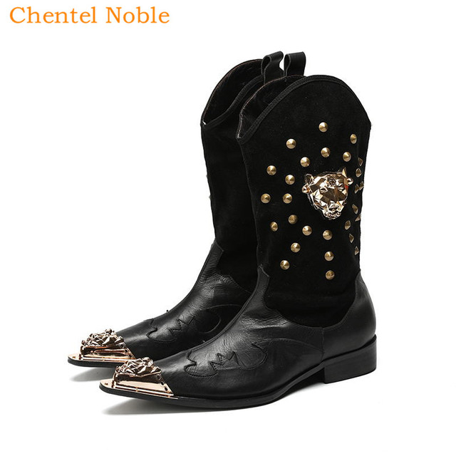 Chentel Noble Brand Leather And Suede Rivet Men Motorcycle Chelsea Boots Stacked Heel Mid-Calf Boots Slip-On Men Shoes