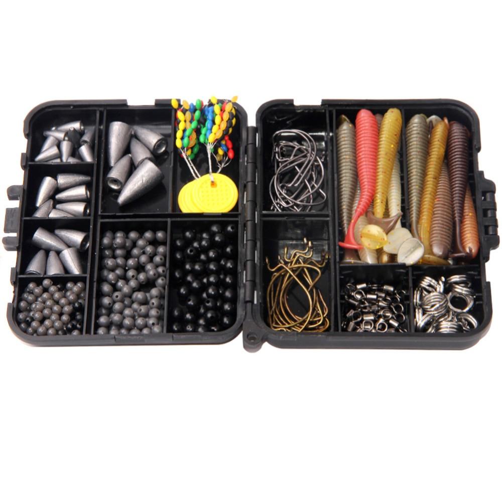 370Pcs/Box Fishing Bullet Sinker Weights For Texas Rig Fishing Sinkers Hooks Rolling Barrel Fishing Swivel Beads Ring