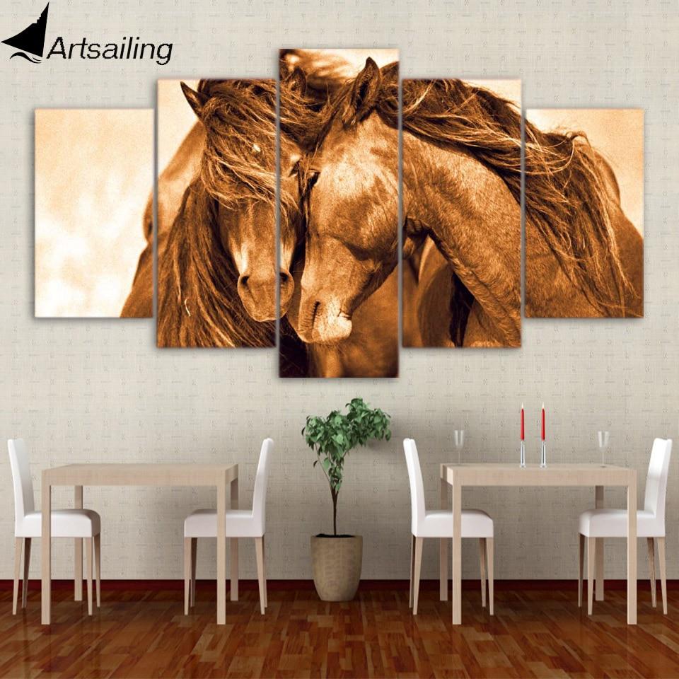 5 stück leinwand kunst rote pferd paar poster moderne leinwand ...