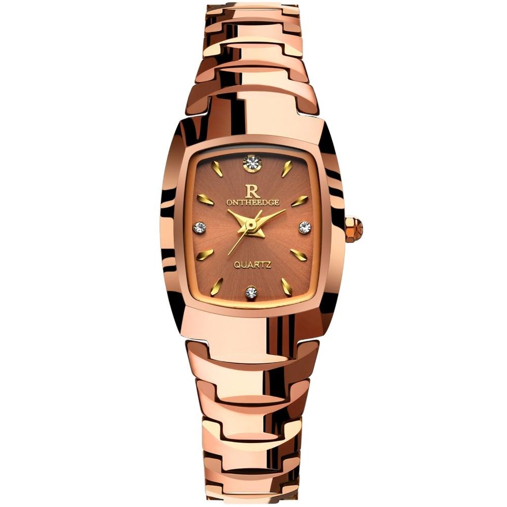 female Rose gold quartz clocks womens Square Wrist watches Tungsten steel waterproof luxury diamond Switzerland brand