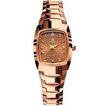 Hembra de oro Rosa de cuarzo relojes para mujer Square relojes de Pulsera impermeable De acero de Tungsteno de lujo de diamantes Suiza marca Original