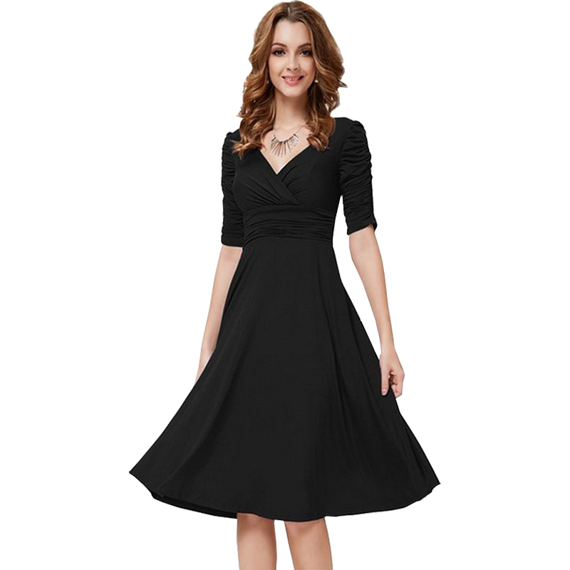 2017 summer new women dress v-neck sexy solid color five-point sleeves  dresses 1fc275a0f628