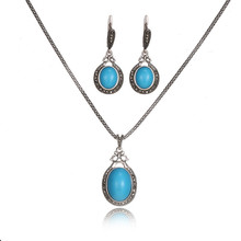 Fashion Ethnic Style Jewelry Sets For Women Antique Silver Blue ResinStone Pendant Necklace Earrings Vintage Jewelry Sets 20%