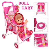 Doll Accessories Stroller Foldable Stroller Pram Pushchair Furniture Toys Baby Dolls Carriages Pretended Play for Children(3699)