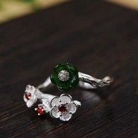 FNJ 925 Bạc Hoa Ring cho Phụ Nữ Jewelry Hetian Ngọc Tự Nhiên Red Zircon New Fine 100% Tinh Khiết S925 Silver Ring Điều Chỉnh Kích Thước