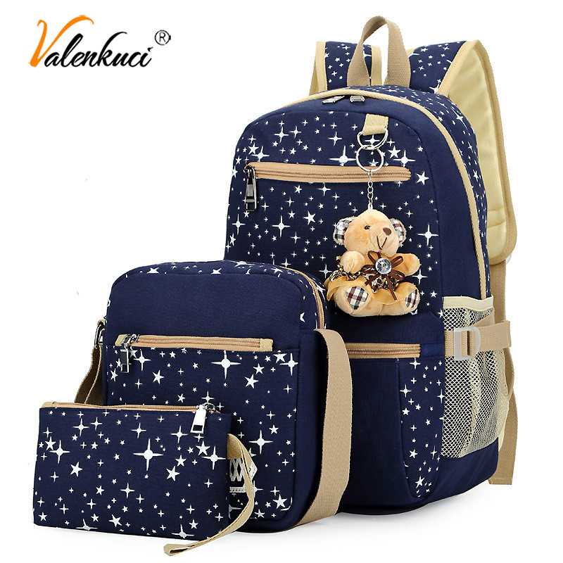 3 Pcs/Set Backpacks Canvas Backpack Stars Printing School Teenagers Girls Student Bag Boy Satchel