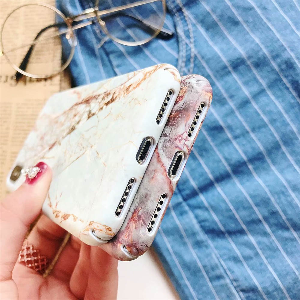 Case For iphone 8 7 Plus X XS Max XR Case Hard PC Leaves Marble Phone Cases For iphone XR X XS Max 7 8 6 6S Plus Case Back Cover in Fitted Cases from Cellphones Telecommunications