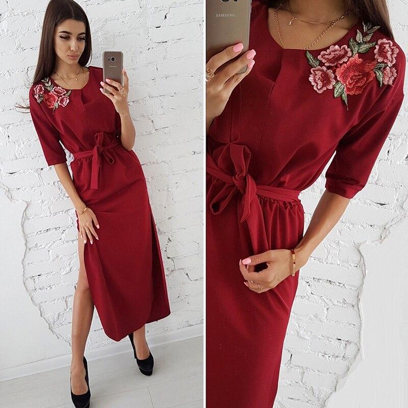 Hem Rose Appliques Dress Women Side Split Curved Half Sleeves Casual Long Dresses S Red 2