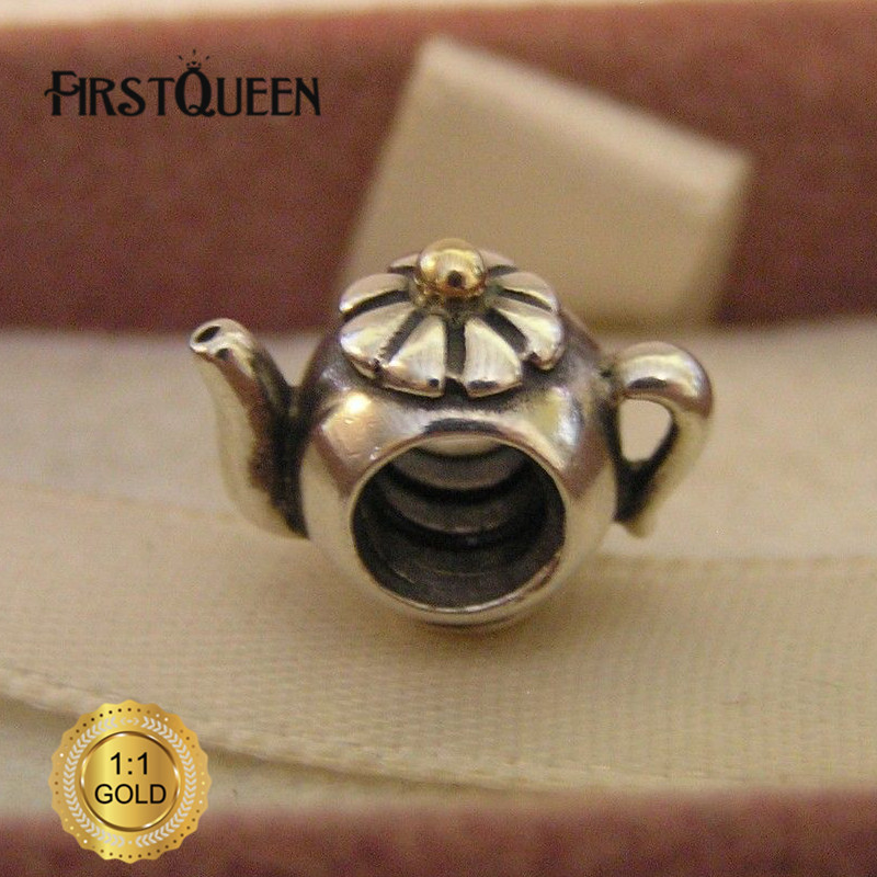 FirstQueen Silver and 14k Yellow Gold Teapot Charm Bead Fit Original European Bracelet Authentic Fine Jewelry