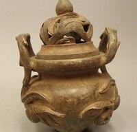 """8 """"ملحوظ سلالة الصينية الصين البرونزي الخوخ زهرة مبخرة مبخرة تمثال-في تماثيل ومنحوتات من المنزل والحديقة على"""