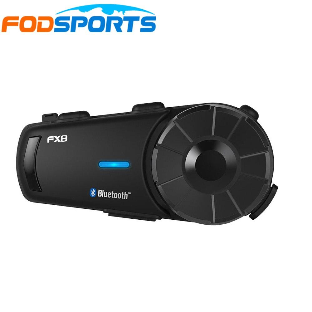 1 pec Fodsport FX8 Motorcycle Helmet Headset 8 Riders Group Talk 1000m Bluetooth Moto Intercom Wireless BT Interphone With FM
