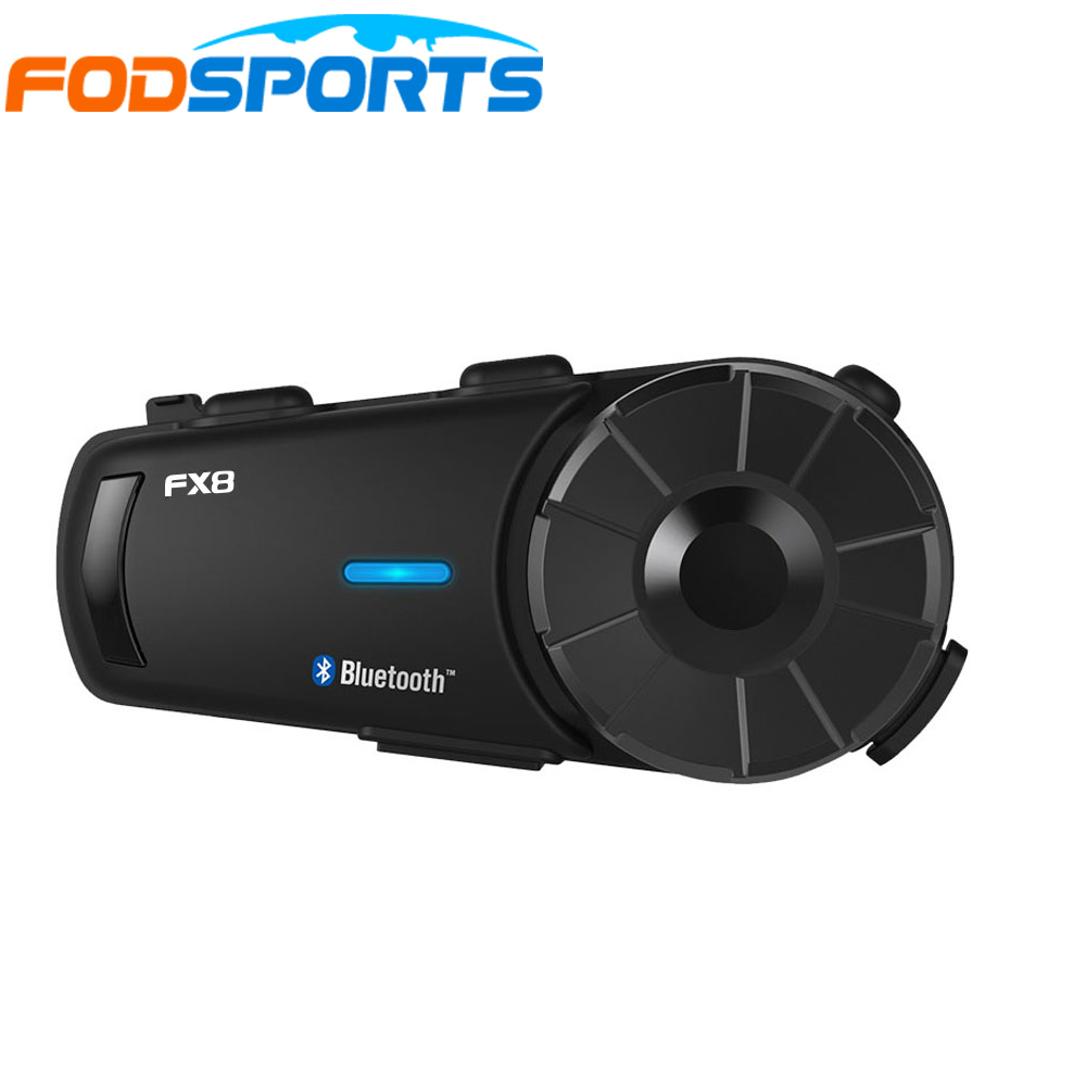 Fodsport FX8 Motorcycle Helmet Headset 8 Riders Group Talk 1000m Bluetooth Moto Intercom Wireless BT Interphone With FM Radio