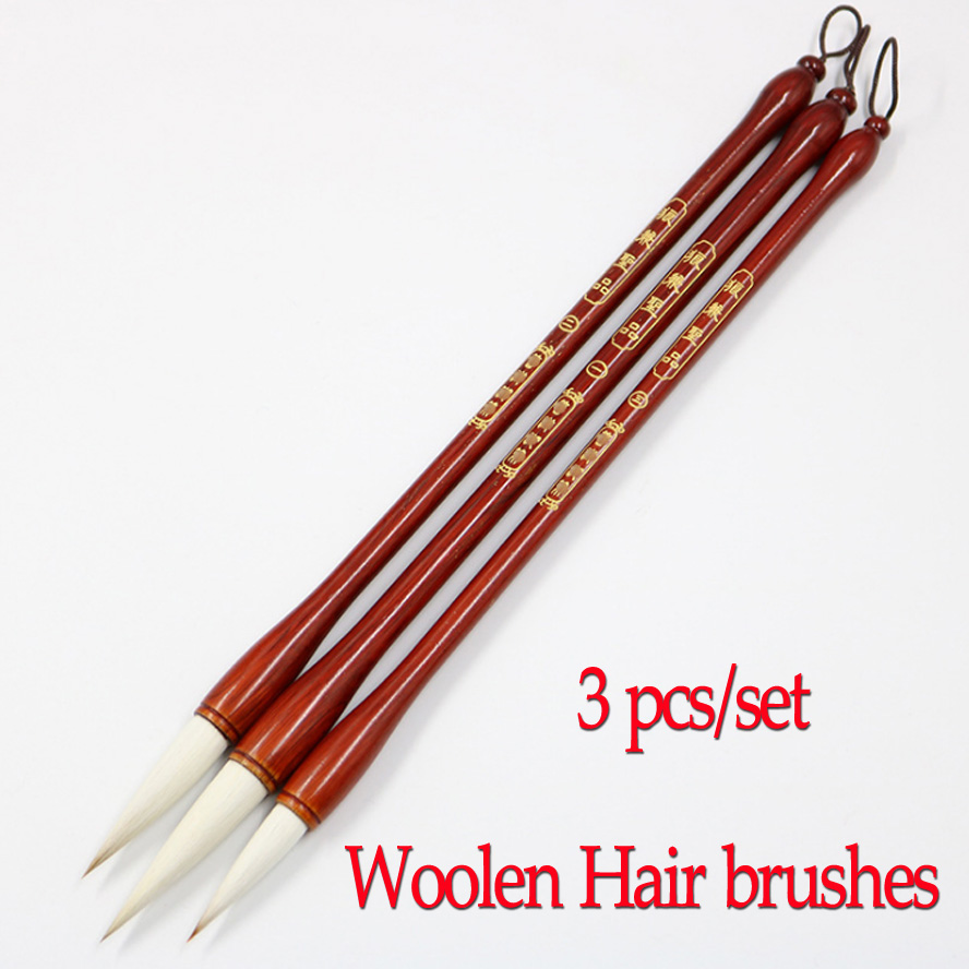 3 pcs/set Chinese Calligraphy Brushes white woolen hair brushes pen set for artist painting calligraphy Art supplies best gift 3 pcs chinese calligraphy brushes weasel hair brushes pen for painting calligraphy artist supplies