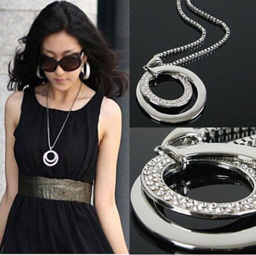 New Fashion Pretty Women's Silver Plated Crystal Rhinestone Long Chain Double Ci