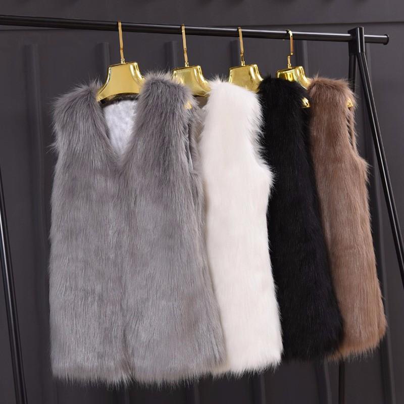 Winter Faux Fur Vest Women V-neck Sleeveless Artificial Fur
