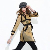 2015 New Early Autumn In Europe And America Show Hollow Double Breasted Long Trench Coat Women