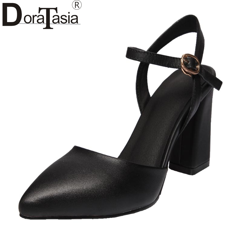 DoraTasia Size 33-40 Fashion Women Sexy Pointed Toe Square High Heels Party Wedding Sandals Ankle Straps Summer Shoes wholesale lttl new spring summer high heels shoes stiletto heel flock pointed toe sandals fashion ankle straps women party shoes