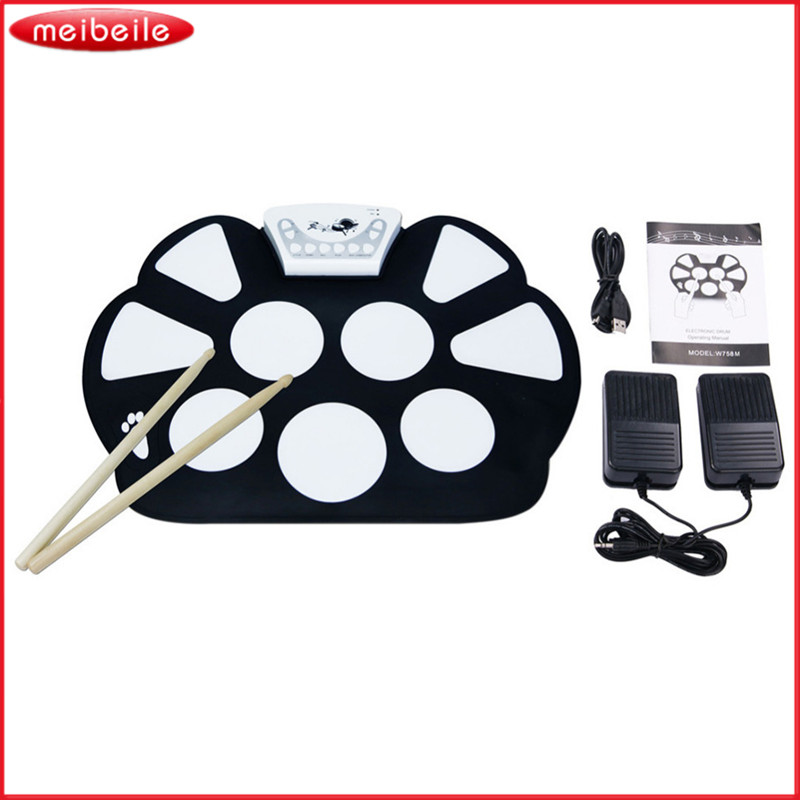 Professtional Electronic Drum Set USB Machine Roll up Drums Kits With Drum Sticks- Foldable Silicon Drum Practice InStrument 9 pad silicon roll up electronic drum with drum sticks and usb cable for midi game percussion instrumenst drum lover